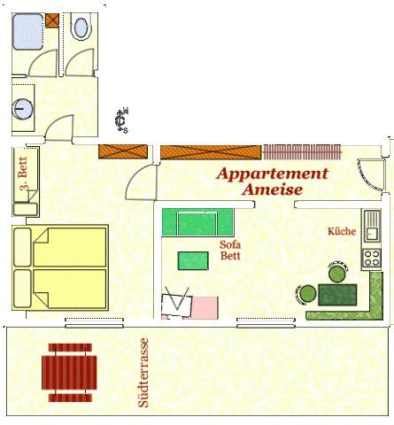 Grundriss Appartement Ameise Hotel Kielhuberhof