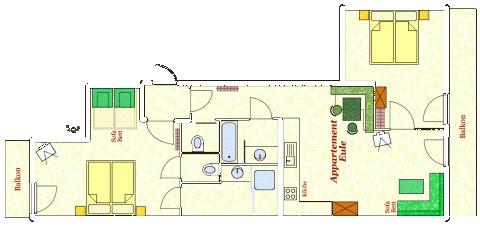 Grundriss Appartement Eule Hotel Kielhuberhof