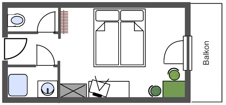 Grundriss Doppelzimmer 19m2