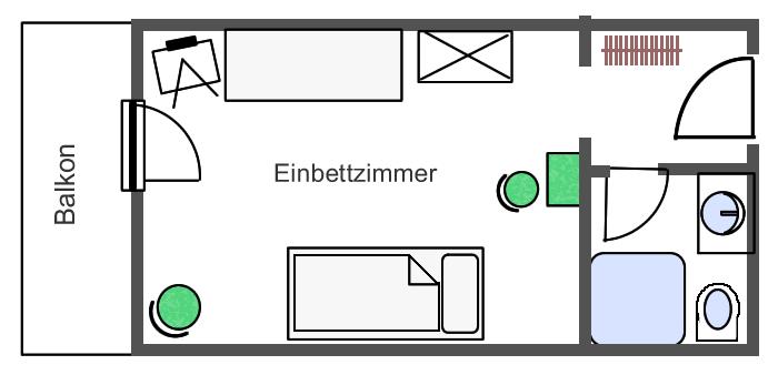 Grundriss Einbettzimmer