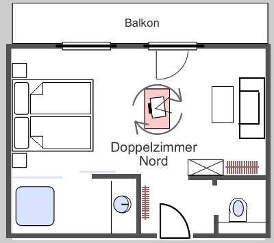 Grundriss Doppelzimmer nord 26m2