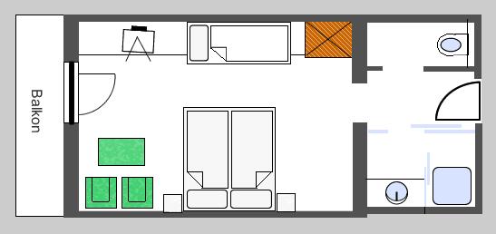 Grundriss 3-Bettzimmer 26m2